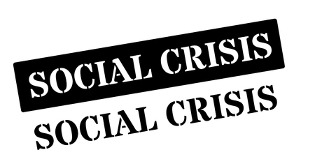 escalation: Social Crisis black rubber stamp on white. Print, impress, overprint. Illustration