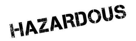 timbre en caoutchouc noir sur blanc dangereux. Imprimer, impressionner, overprint.