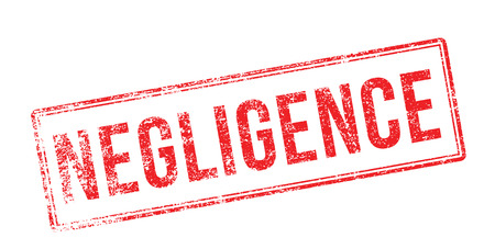 inattention: Negligence red rubber stamp on white. Print, impress, overprint.