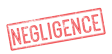 forgetful: Negligence red rubber stamp on white. Print, impress, overprint.