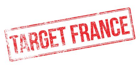 france stamp: Target France red rubber stamp on white. Print, impress, overprint.