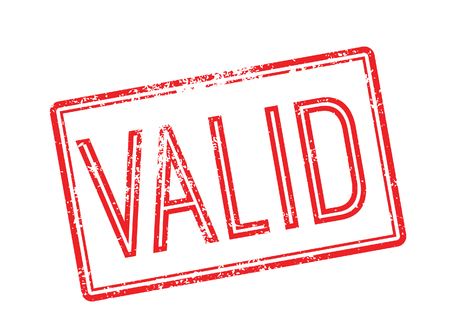 validez: V�lido sello de goma roja sobre fondo blanco. Imprimir, impresionar, sobreimpresi�n. Vectores