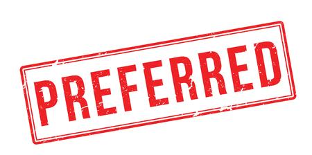 preferred: Preferred red rubber stamp on white. Print, impress, overprint. Illustration