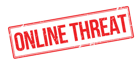 the threat: Online Threat red rubber stamp on white. Print, impress, overprint.