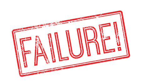defeated: Failure red rubber stamp on white. Print, impress, overprint. Illustration