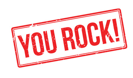 You Rock! Red rubber stamp on white. Print, impress, overprint.