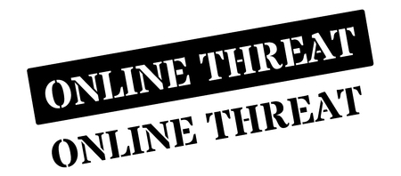 threat: Online Threat black rubber stamp on white. Print, impress, overprint.