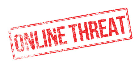threat: Online Threat red rubber stamp on white. Print, impress, overprint.