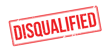eliminated: Disqualified red rubber stamp on white. Print, impress, overprint. Illustration