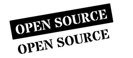 operative: Open Source black rubber stamp on white. Print, impress, overprint. Illustration