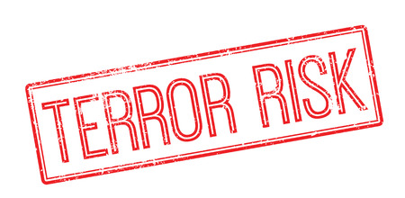 hijack: Terror risk red rubber stamp on white. Print, impress, overprint.