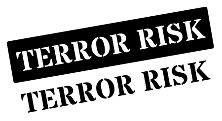 terror: Terror risk black rubber stamp on white. Print, impress, overprint. Illustration
