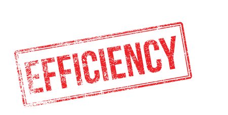 capable: Efficiency red rubber stamp on white. Print, impress, overprint.