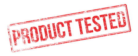 Product Tested red rubber stamp on white. Print, impress, overprint.