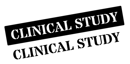 clinical: Clinical Study black rubber stamp on white. Print, impress, overprint. Illustration