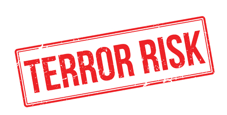 hijacked: Terror risk red rubber stamp on white. Print, impress, overprint.