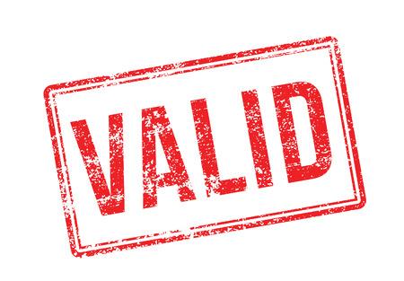 validez: Válido sello de goma roja sobre fondo blanco. Imprimir, impresionar, sobreimpresión. Vectores