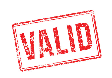 validity: Valid red rubber stamp on white. Print, impress, overprint.