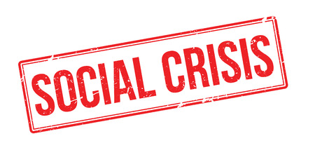escalation: Social Crisis red rubber stamp on white. Print, impress, overprint.