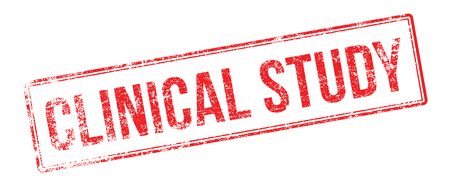clinical: Clinical Study red rubber stamp on white. Print, impress, overprint.