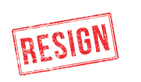 resign: Resign red rubber stamp on white. Print, impress, overprint.