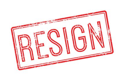 renounce: Resign red rubber stamp on white. Print, impress, overprint.