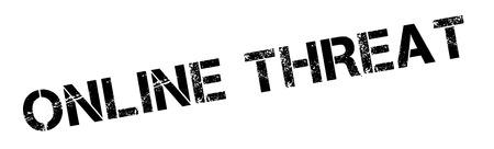threat: Online Threat black rubber stamp on white. Print, impress, overprint.
