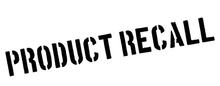 recall: Product recall black rubber stamp on white. Print, impress, overprint. Illustration