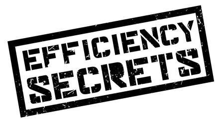 potency: Efficiency Secrets rubber stamp on white. Print, impress, overprint.