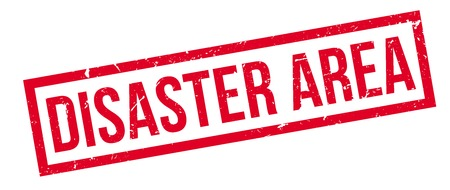 flood area sign: Disaster Area rubber stamp on white. Print, impress, overprint. Illustration