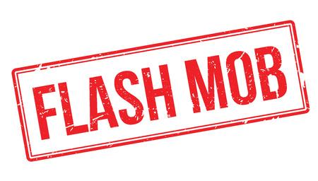 mob: Flash mob rubber stamp on white. Print, impress, overprint.