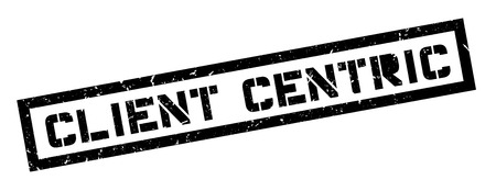 centric: Client centric rubber stamp on white. Print, impress, overprint.