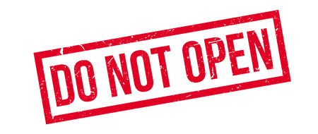 not open: Do not open rubber stamp on white. Print, impress, overprint. Illustration
