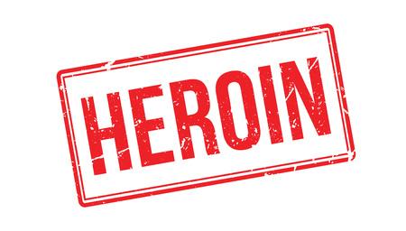overdose: Heroin rubber stamp on white. Print, impress, overprint.