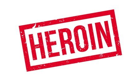 heroin: Heroin rubber stamp on white. Print, impress, overprint.