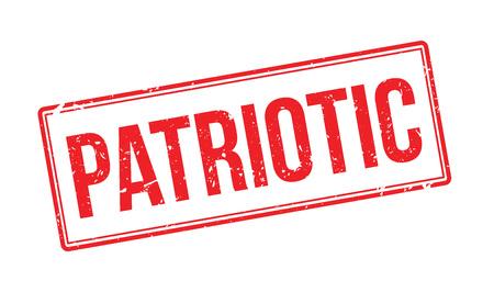 partisan: Patriotic rubber stamp on white. Print, impress, overprint.