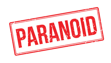 instability: Paranoid rubber stamp on white. Print, impress, overprint.
