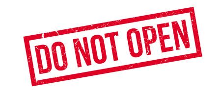 not open: Do not open rubber stamp on white. Print, impress, overprint. Illustration