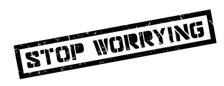 worrying: Stop worrying rubber stamp on white. Print, impress, overprint. Illustration