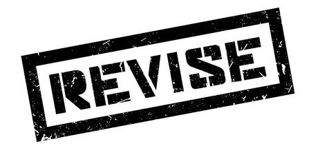 revise: Revise rubber stamp on white. Print, impress, overprint. Illustration