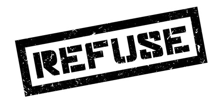 refuse: Refuse rubber stamp on white. Print, impress, overprint.