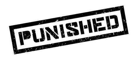 imprisonment: Punished rubber stamp on white. Print, impress, overprint. Illustration