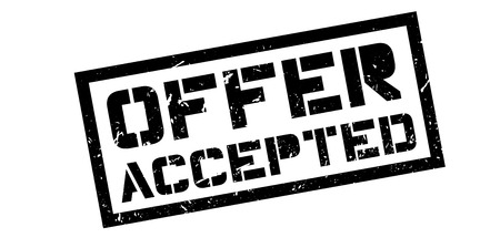 accepted: Offer accepted rubber stamp on white. Print, impress, overprint.