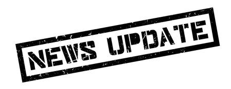 updating: News update rubber stamp on white. Print, impress, overprint.