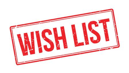 wish list: Wish List Rubber Stamp on white. Print, impress, overprint. Illustration
