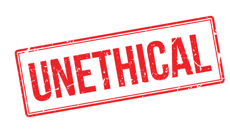 unethical: Unethical rubber stamp on white. Print, impress, overprint.