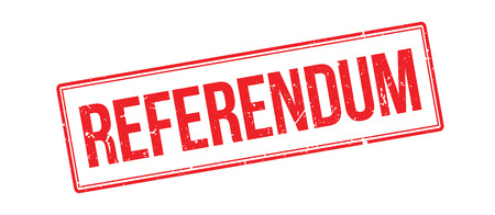 referendum: Referendum rubber stamp on white. Print, impress, overprint. Illustration