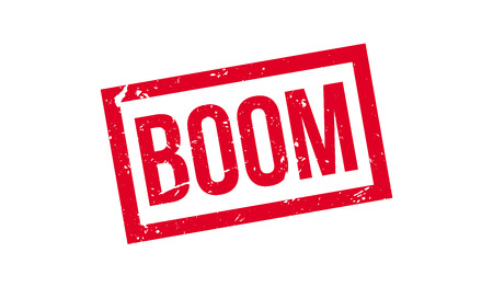 barrage: Boom rubber stamp on white. Print, impress, overprint. Illustration