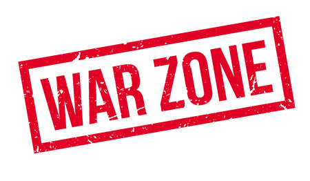 risky situation: War zone rubber stamp on white. Print, impress, overprint.