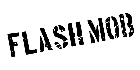 mob: Flash mob rubber stamp on white. Print, impress, overprint.